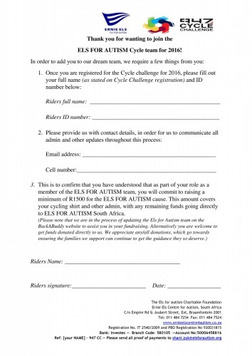 Ernie's Army Cycle Ride entry form